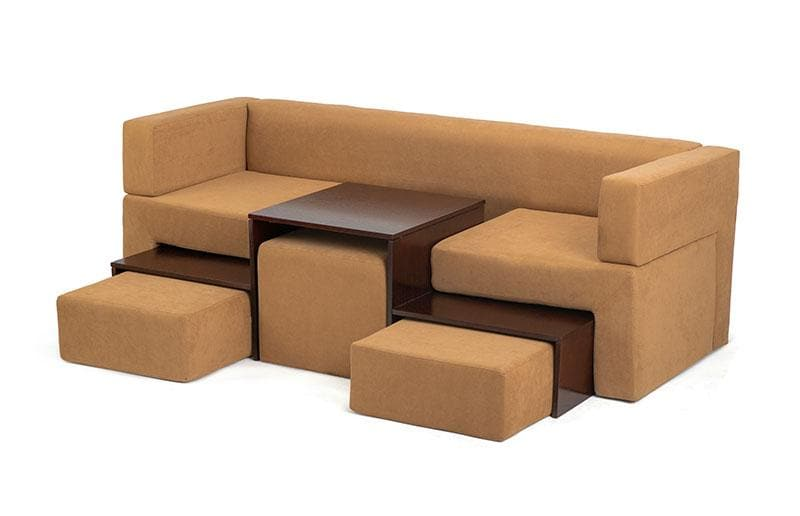 Wooden Sofa with Poufs