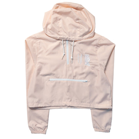 Horrific Thoughts Lightweight Crop Windbreaker (Blush/White)
