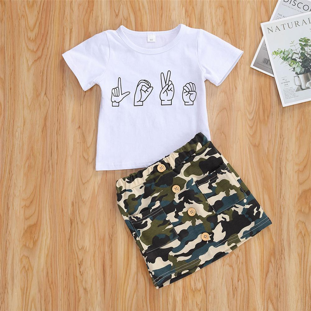 Girls Camo Skirt and Tee Set