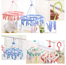 Load image into Gallery viewer, Circular Laundry Drying Rack with 18 Clips - Blue And White