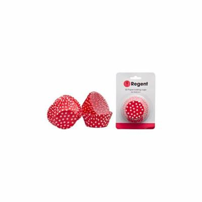 CAKE CUPS RED WITH WHITE DOTS 50pc - Basedonlogistics