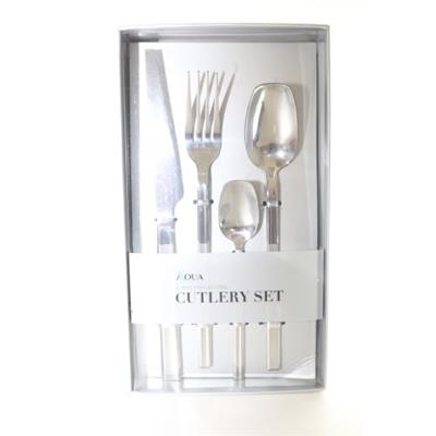 Cutlery Set 16Pc Square Silver - Basedonlogistics