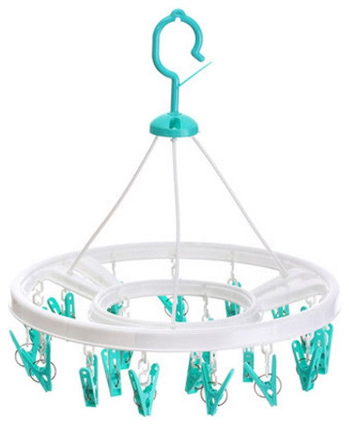 Circular Laundry Drying Rack with 18 Clips - Blue And White