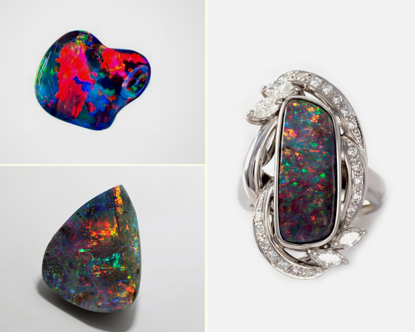 Thundercloud behind a rainbow: black opal
