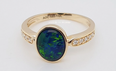 Opal gold engagement ring