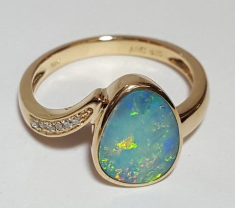 Diamond opal engagement ring
