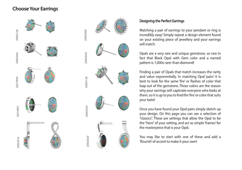 Opal Earrings in Silver or White Gold, Claw Setting or Bezel Setting
