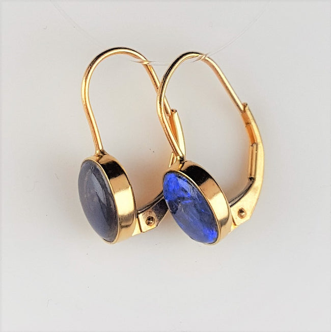 Black Opal Earrings set in 18K Yellow Gold 8x6 mm
