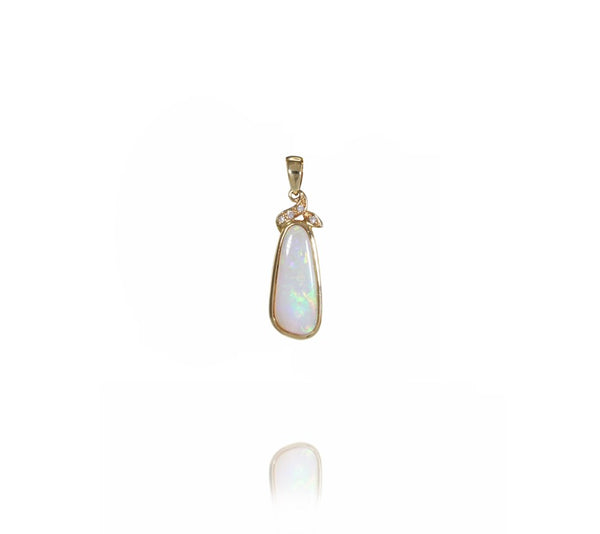 Australian Light Opal Pendant set in 14 Karat Yellow Gold with 4 x G-H/Vs1-Si1 Diamonds Weighing 0.04 Carats