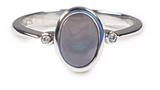 Australian Black Opal 0.30 Carats Ring set in 925 Sterling Silver with Cubic Zirconia