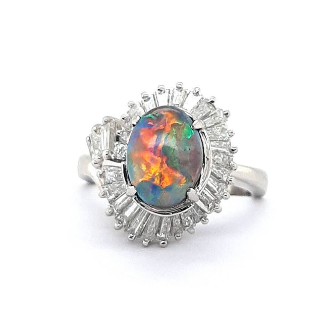 Boulder Opal Ring set in Platinum 2.71 carats with 29 x diamonds total 1.35 carats
