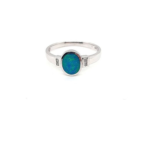 Australian Opal Doublet 0.56 Carat Ring set in 925 Sterling Silver with Cubic Zirconia