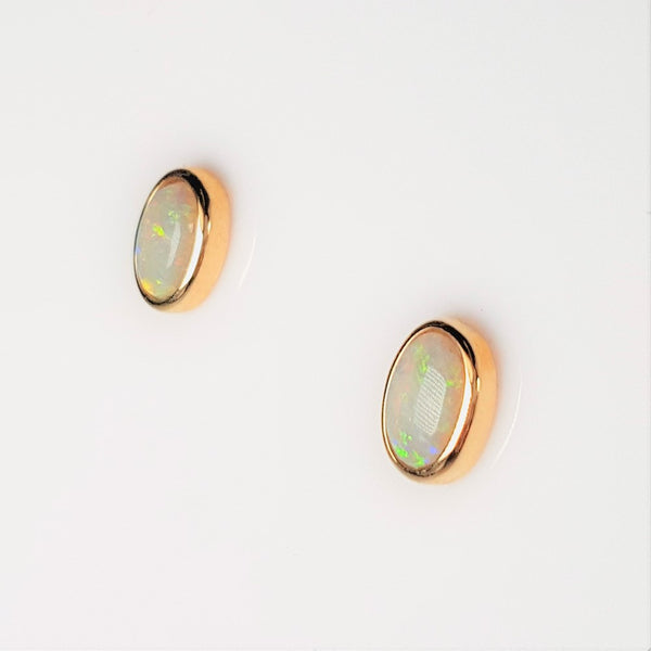 White Opal Earrings set in 14K Yellow Gold 0.44Ct