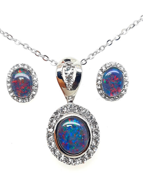 Triplet Opal Pendant 10x8 mm and Earrings 8x6 mm set in Stainless Steel with Cubic Zirconia