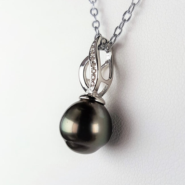 Tahitian Pearl Pendant set in St Silver     9.5-10mm