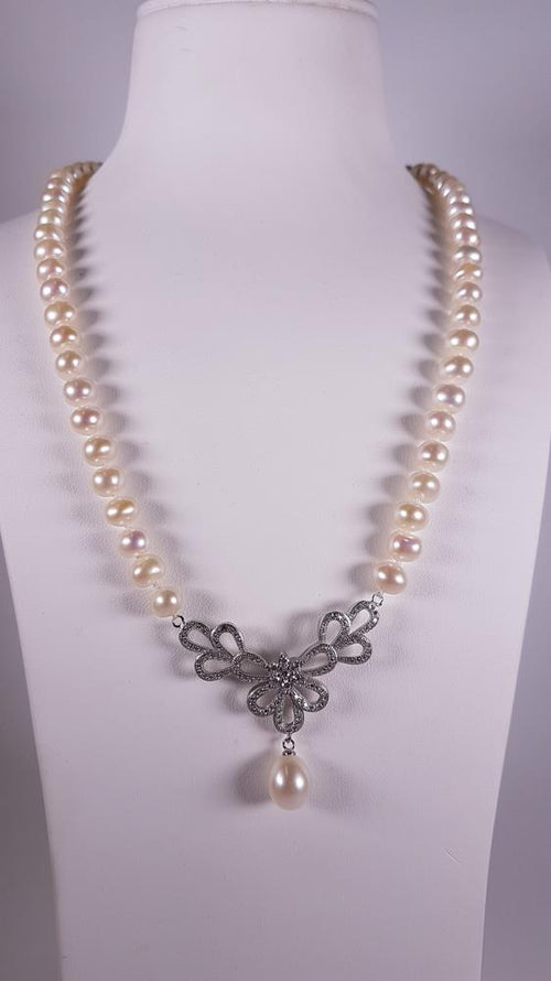 Pure Pearl Strand set in St Silver     7-8mm