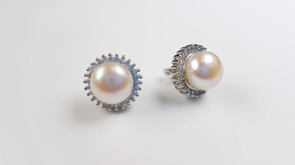 Pure Pearl Earrings set in St Silver     8-10mm