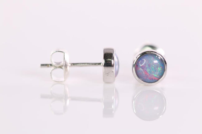 Australian Opal Triplet 5 mm Earrings set in 925 Sterling Silver