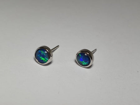 White Opal  0.15ct set in 14K Yellow Gold Earrings