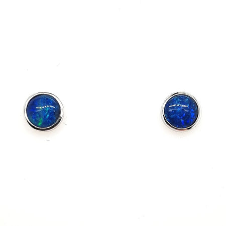 Triplet Opal Earrings set in St Silver     6mm