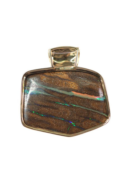 Boulder Opal Pendant set in 14K Yellow Gold 72.4Ct  180x Diamond 0.943Ct
