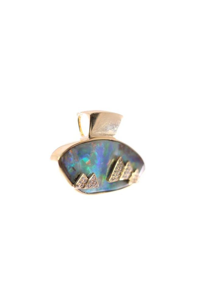 Boulder Opal Pendant set in 14K Yellow Gold 11.95Ct  43x Diamond 0.173Ct