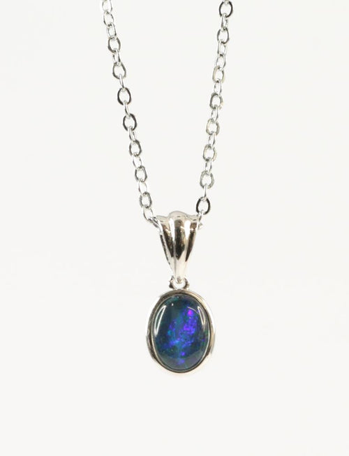Australian Opal Triplet 8 x 6 mm Pendant set in 925 Sterling Silver