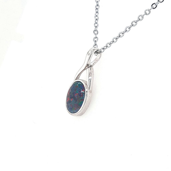 Australian Opal Triplet 10 x 8 mm Pendant set in 925 Sterling Silver