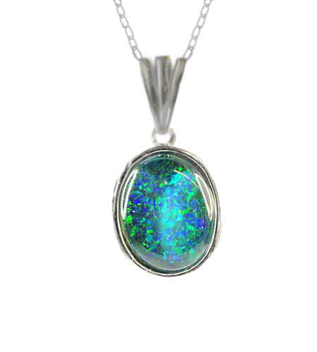 Triplet Opal Pendant set in St St     16X12mm