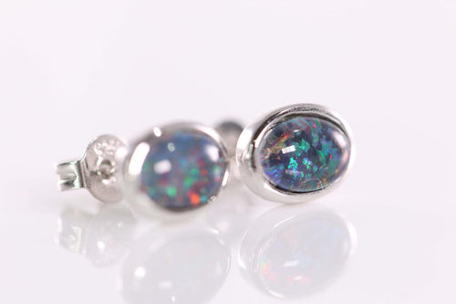 Australian Opal Triplet 7 x 5 mm Earrings set in 925 Sterling Silver