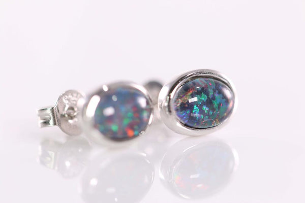 Triplet Opal Earrings set in St Silver     7x5mm