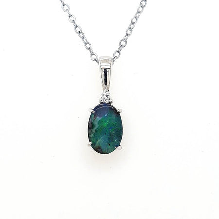 Boulder Opal 3.5ct.Pendant set in 14K W GOLD