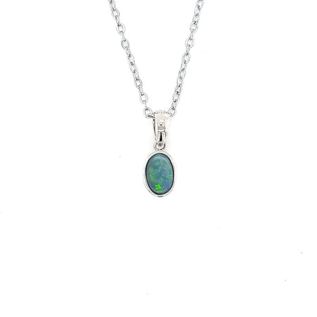 Boulder Opal Pendant set in ST Silver with 10 Cubic Zirconia