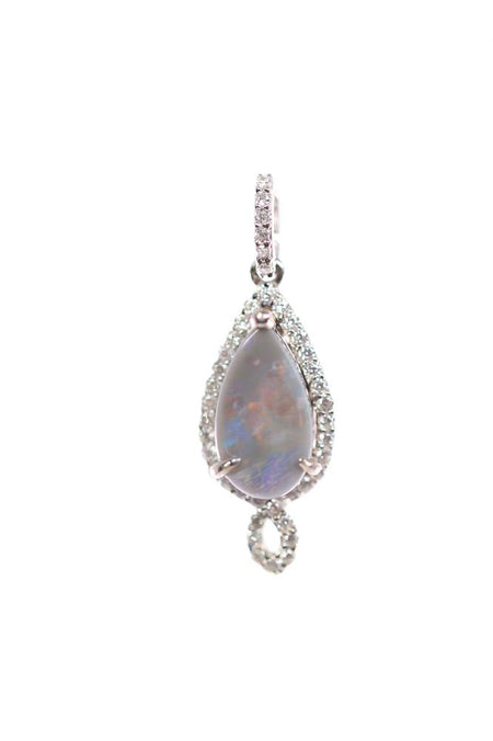 Black Opal Pendant set in Sterling Silver 2.4 ct. set with  Cubic Zirconia