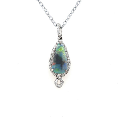 Australian Black Opal 1.23 Carats Pendant set in 925 Sterling Silver with Cubic Zirconia