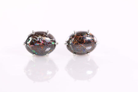 Triplet Opal Earrings set in St St     8X6mm