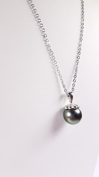 Tahitian Pearl Pendant set in St Silver     11.5-12mm