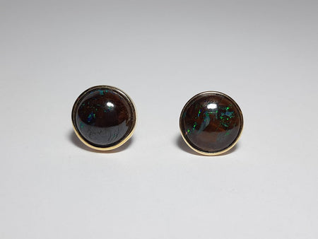 Black Opal 3.5ct Earrings set in 14K Yellow Gold wit 2 Diamonds TW=0.04ct