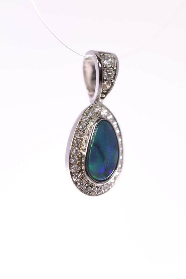 Australian Black Opal 0.65 Carats Pendant set in 925 Sterling Silver with Cubic Zirconia