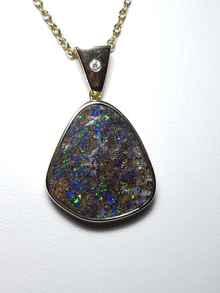 Boulder Opal 20x19mm Pendant set in 14K Yellow Gold with 1 Diamond TW=0.015ct