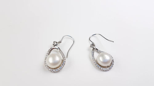 Pure Pearl Earrings set in St Silver     8mm
