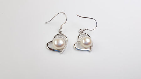 Coated South Sea Pearl 8mm set in Rhodium Plated Earrings