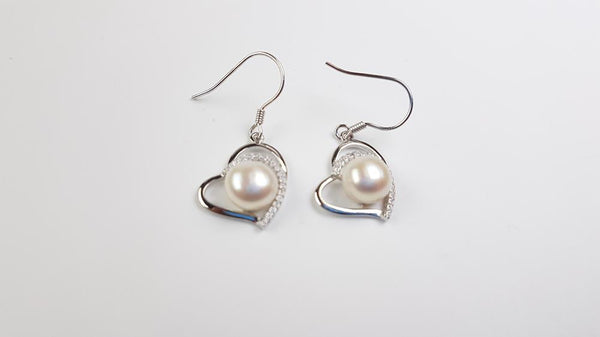 Pure Pearl 8mm set in St Silver Earrings