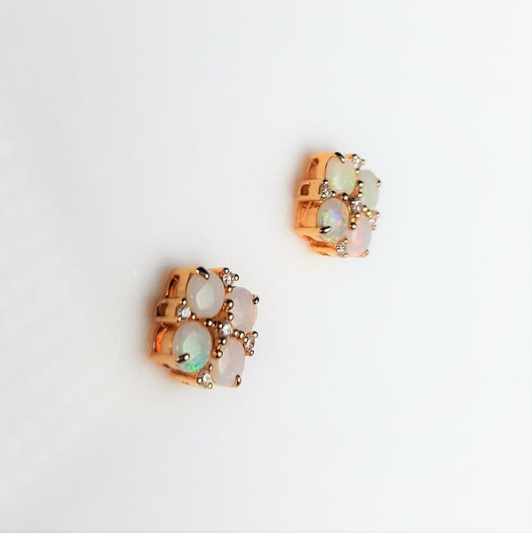 White Opal 0.7ct  set in 14K Yellow Gold Earrings with 10 Diamonds TW=0.086ct