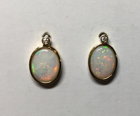 Boulder Opal Earrings set in 14K Yellow Gold 0.85Ct  34x Diamond 0.231Ct