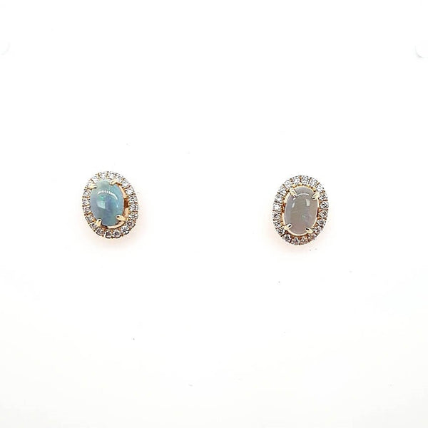 Australian Black Opal 0.75 Carats Earrings set in 14 Karat Yellow Gold with 40 x G-H/Vs1-Si1 Diamonds Weighing 0.21 Carats