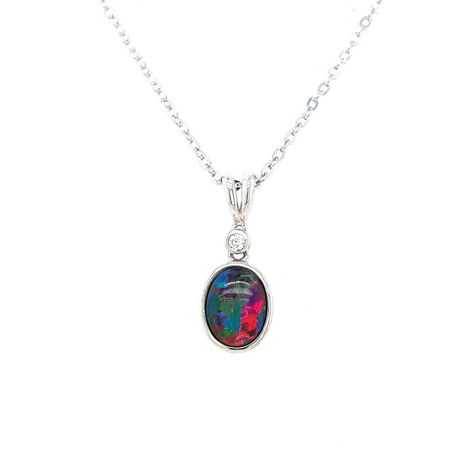 Triplet Opal Pendant set in Sterling Silver 9 x 7 mm