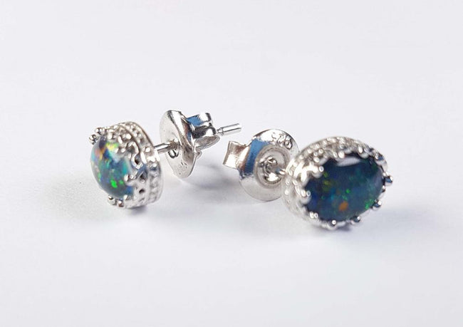 Australian Opal Triplet 7 x 5mm Earrings set in 925 Sterling Silver