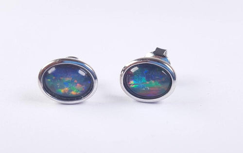 Australian Opal Triplet 8 x 6 mm Earrings set in 925 Sterling Silver