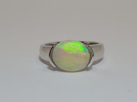 White Opal Ring set in St Silver     7x5mm